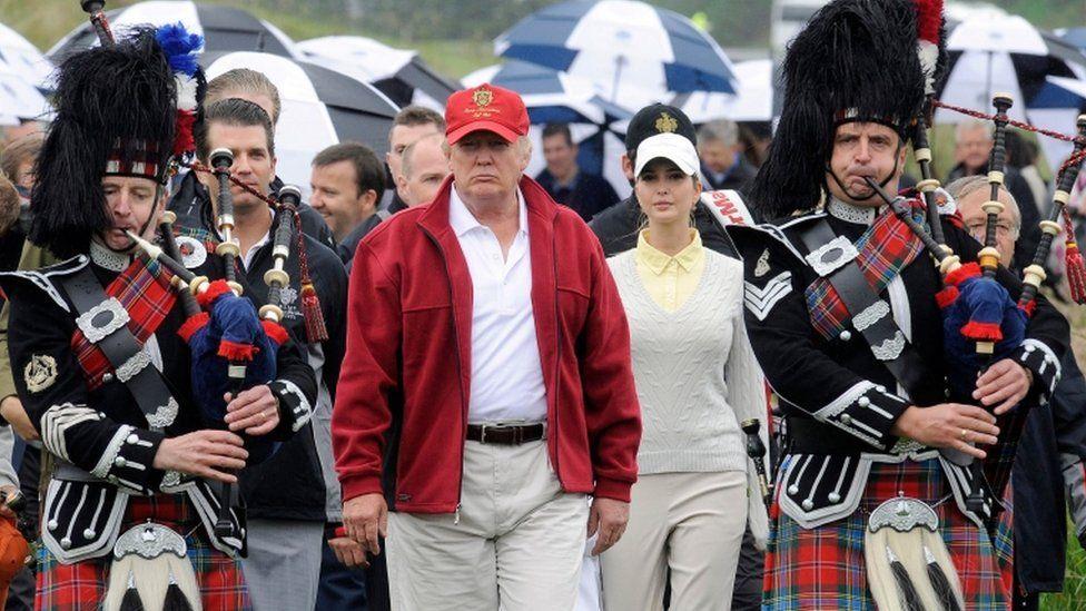 Mr Trump opens his multi-million pound Trump International Golf Links course in Aberdeenshire in 2012