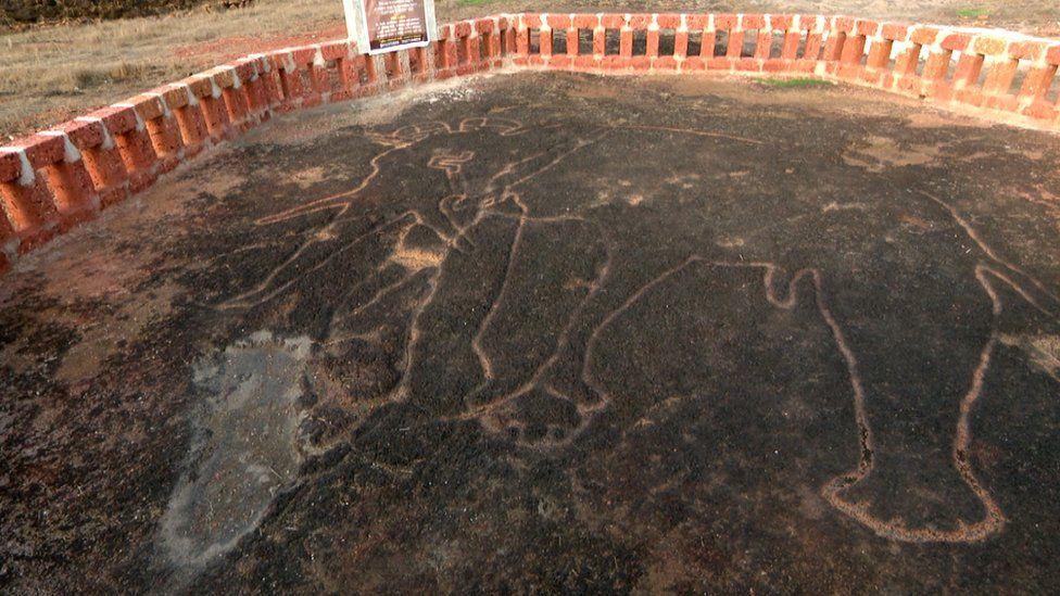 Petroglyph elephant