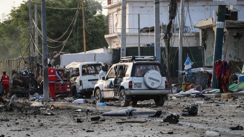 The scene of the blasts near Mogadishu's Hotel Sahafi. Photo: 9 November 2018