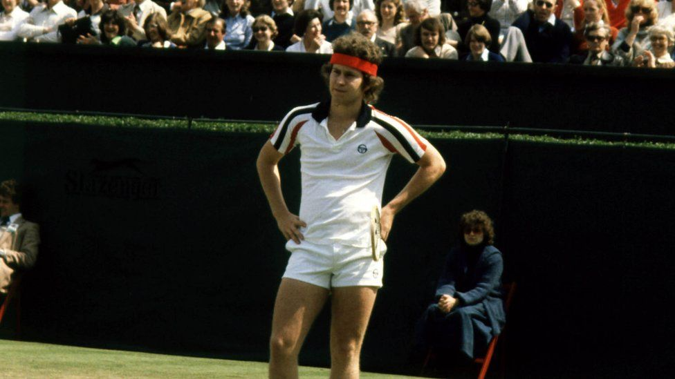 John McEnroe, seen here contesting an Umpires decision during one of his matches at the All England Wimbledon Tennis Championships in 1979