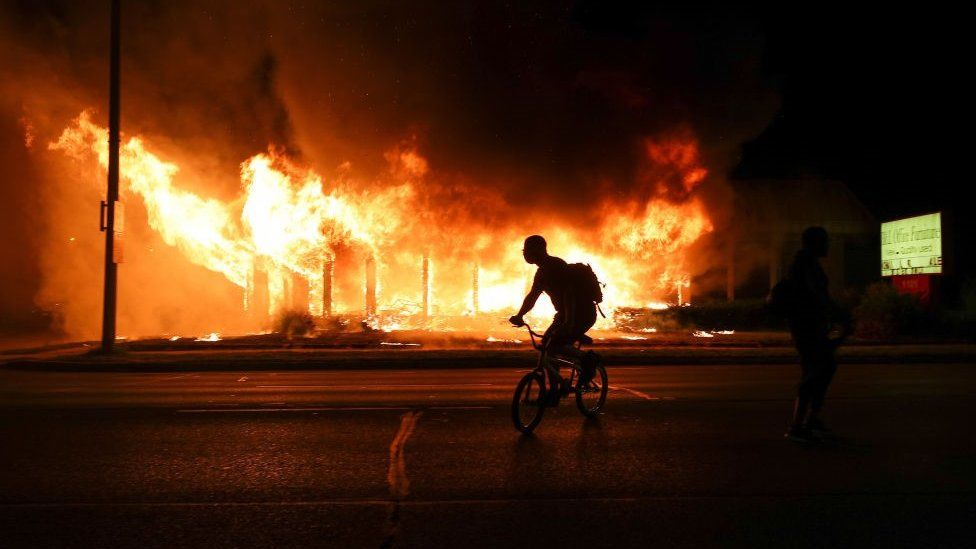 Jacob Blake protesters lit buildings on fire in Kenosha, Wisconsin, United States on August 24, 2020