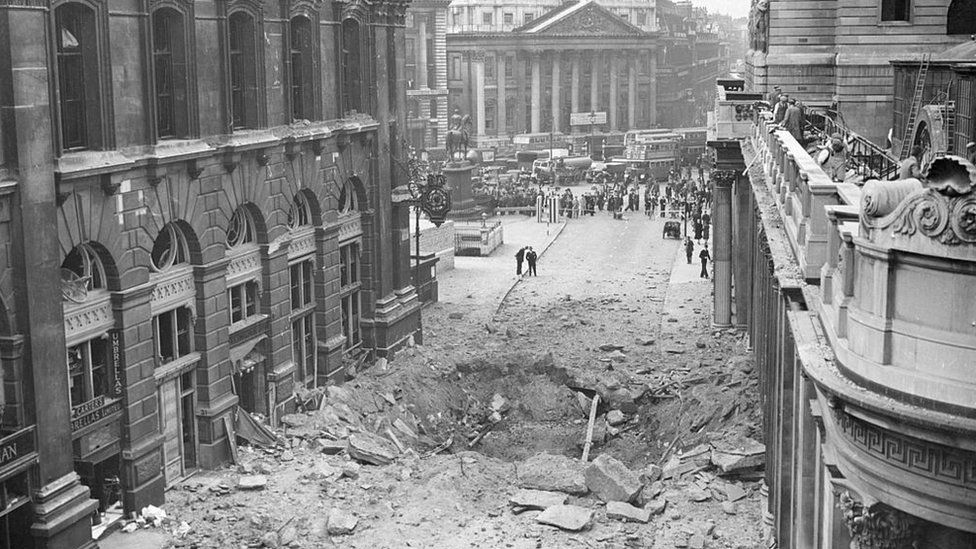 A large bomb crater between the Royal Exchange and Bank of England in 1940