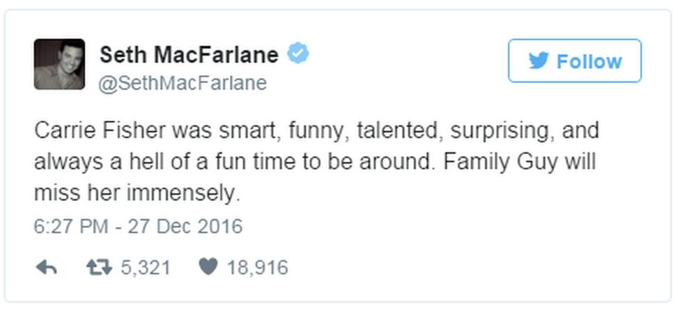 "A tweet from Seth MacFarlane reads: ""Carrie Fisher was smart, funny, talented, surprising, and always a hell of a fun time to be around. Family Guy will miss her immensely."""