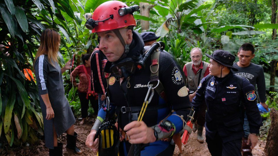 Richard Stanton walks out from Tham Luang Nang Non cave in Thailand
