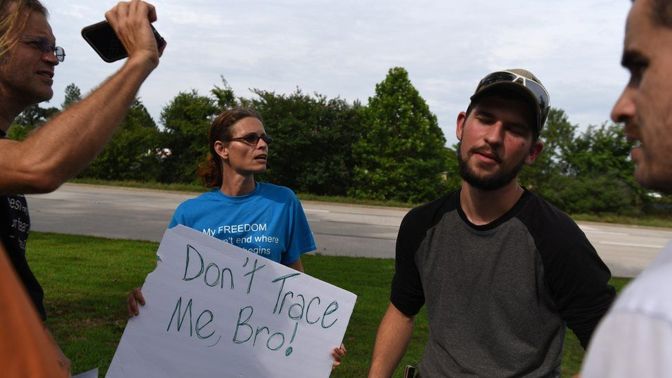 Activists in Conroe, Texas, protested against contact tracing programmes