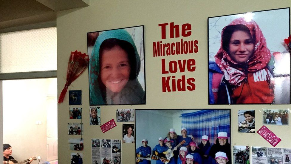 Parwana and Khorshid, remembered on the wall of the guitar school