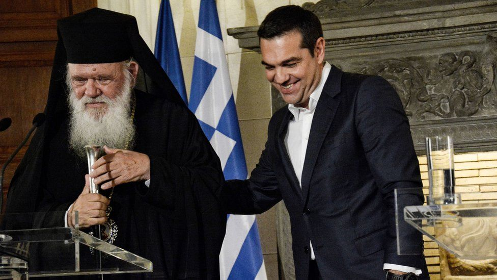 Greek Prime Minister Alexis Tsipras and Archbishop Ieronymos seen together during their meeting at Maximos Mansion