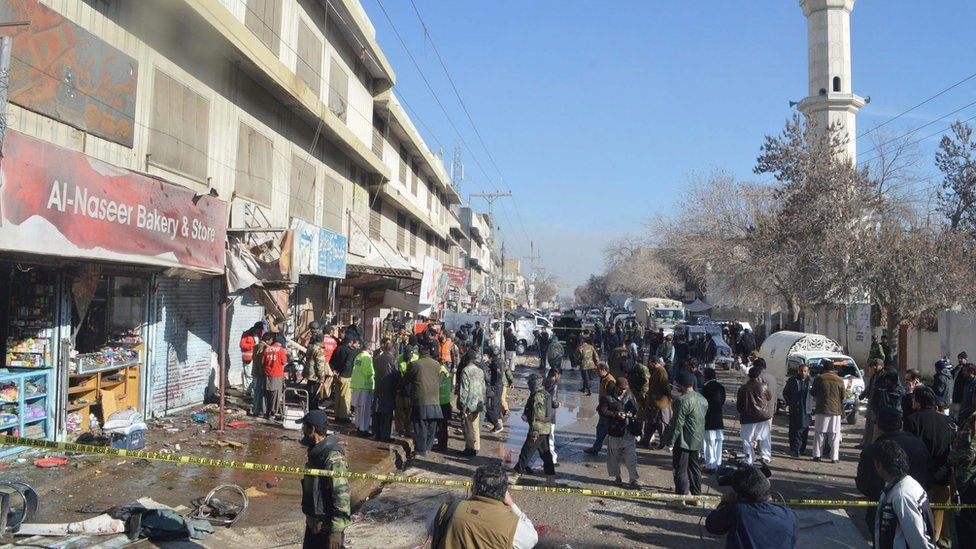 Scene of the bomb blast in Quetta, Pakistan, on 13 January 2016