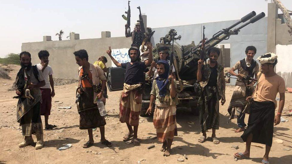 Yemeni pro-government fighters near Hudaydah's airport on 18 June 2018