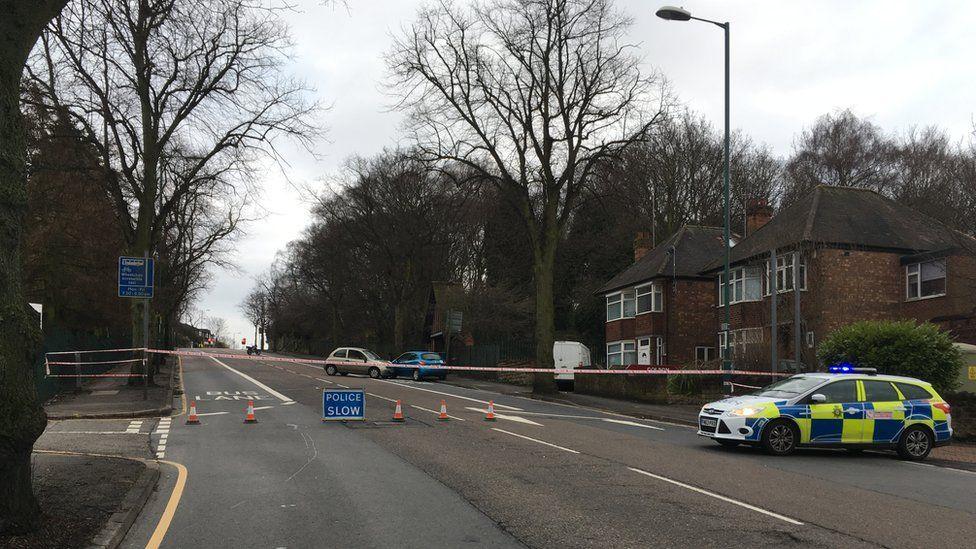 The road closure on Hucknall Road in Sherwood, Nottingham