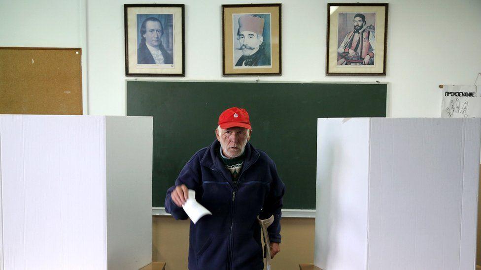 Man voting in Laktasi near Banja Luka - 25 September
