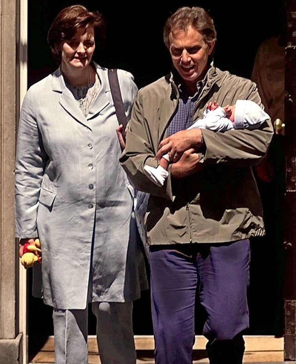 Cherie and Tony Blair with baby Leo