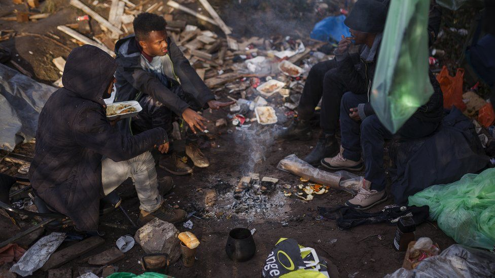 Migrants at a camp in Calais