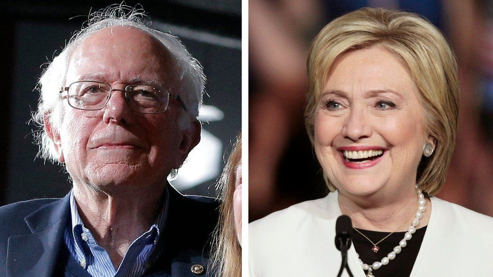 A combination photo shows Democratic U.S. presidential candidates Bernie Sanders (L) and Hillary Clinton (R) at their respective Super Tuesday primaries rally