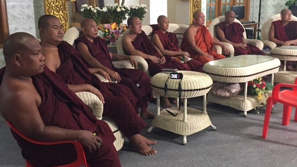 Photo of monks with Ma Ba Tha in a BBC interview