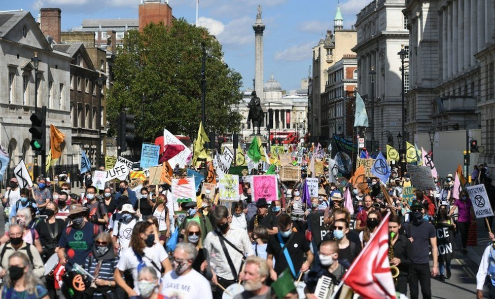 XR protesters in Whitehall