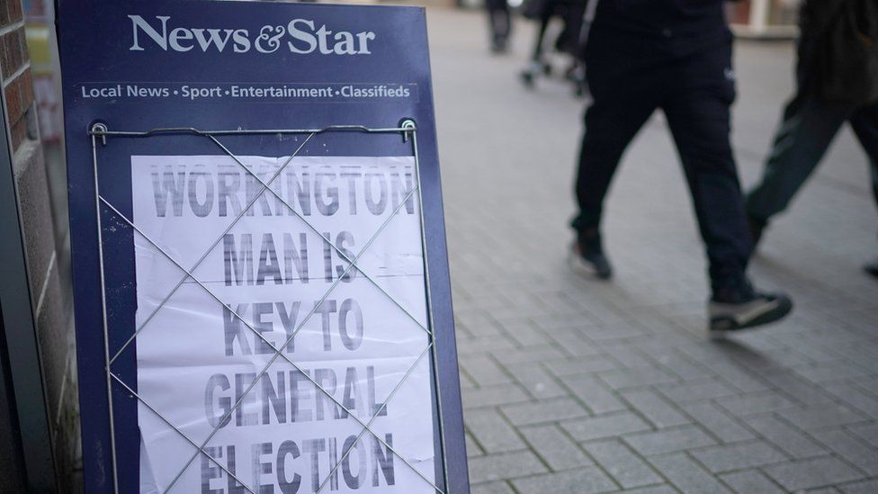 """""""Workington man is key to general election"""" poster board"""