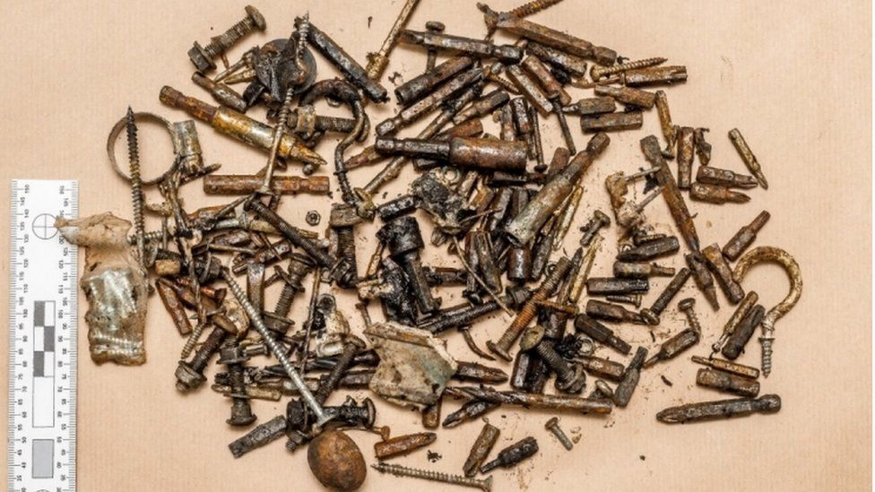 Shrapnel: Some of the metal parts recovered from the bomb