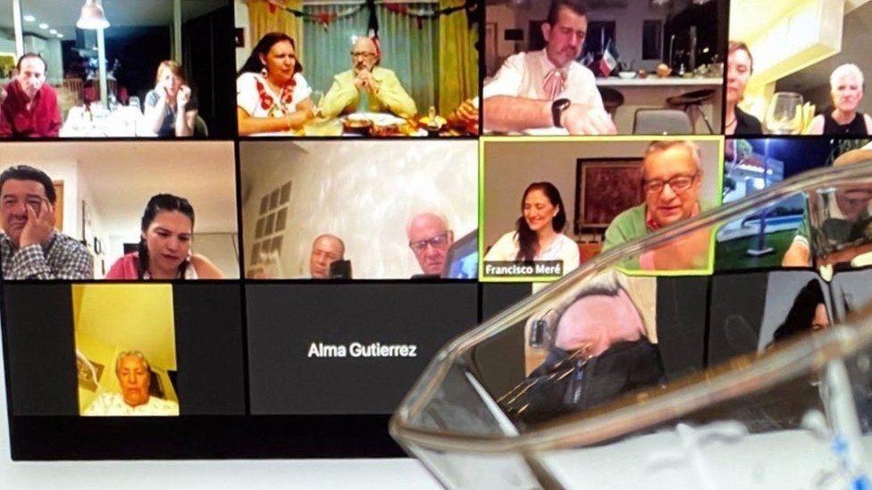 Leyla Daw hosting a Zoom tasting
