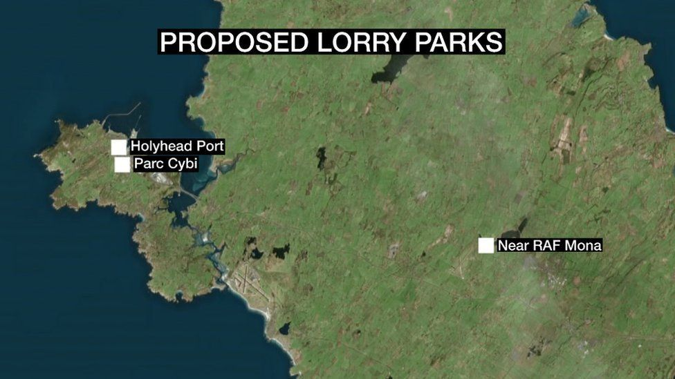Map showing proposed lorry park locations