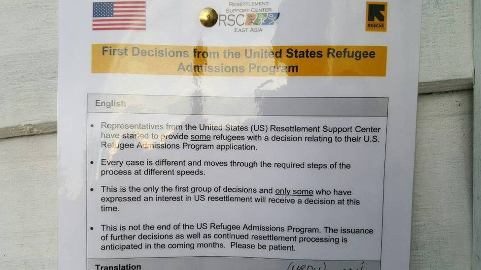 A notice from US authorities in a detention centre