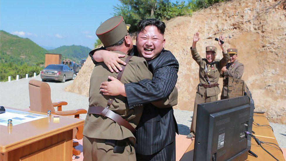 Kim Jong-un celebrates the successful launch of a Hwasong-14 ballistic missile