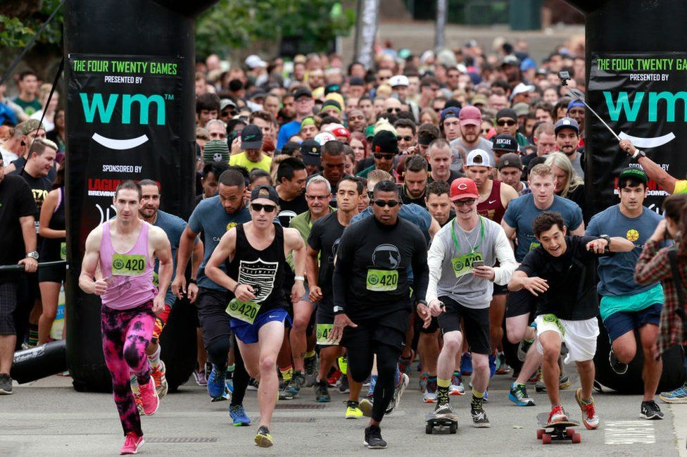 Marijuana enthusiasts run in the third annual 420 Games in San Francisco in 2016