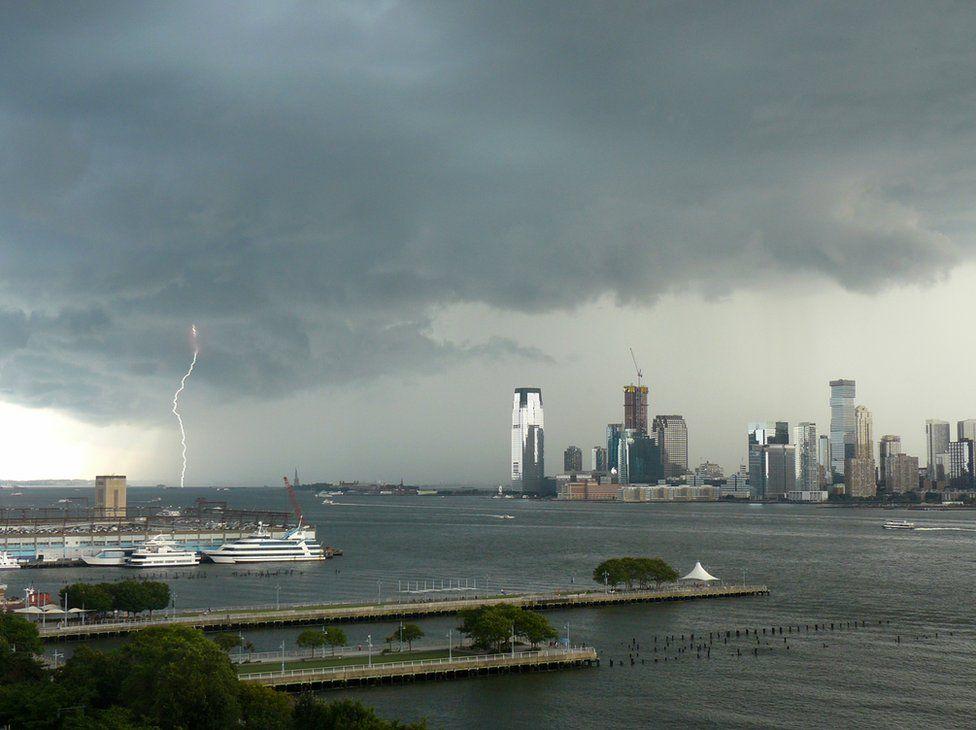 Lightning storm above the Hudson River