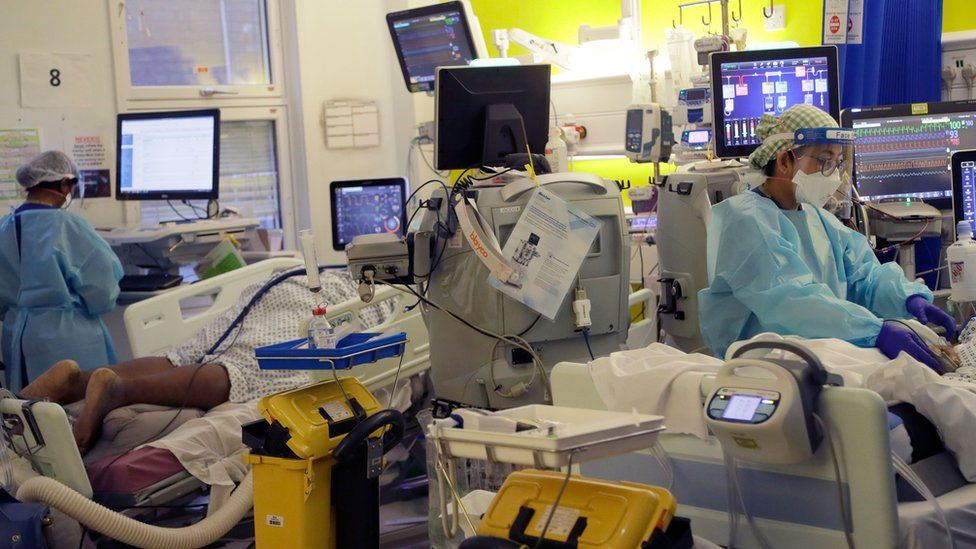 Critical Care staff take care of Covid-19 patients at King's College Hospital in London