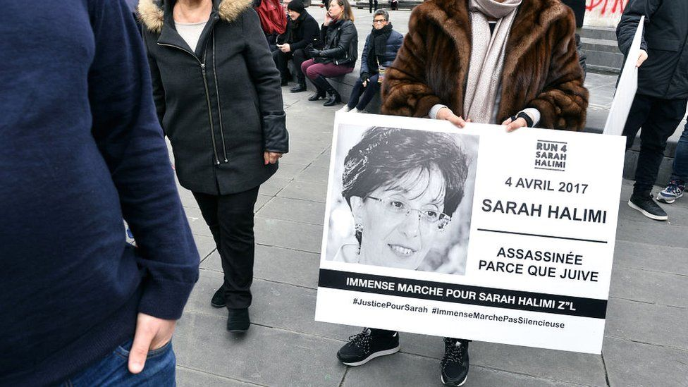 Symbolic march in memory of Sarah Halimi after her murderer was declared irresponsible for her killing, in January 2019 in Paris, France