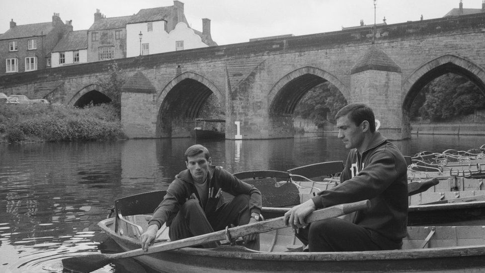 Italians Giacinto Facchetti and Tarcisio Burgnich take a boat out on the Wear in Durham