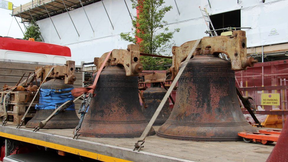 the damaged church bells