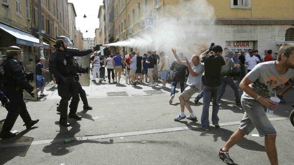 Police using tear gas