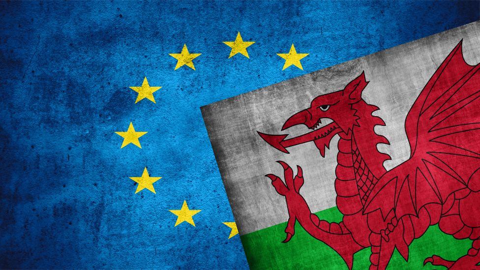 EU and Welsh flags