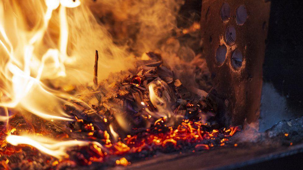Burning woodchip