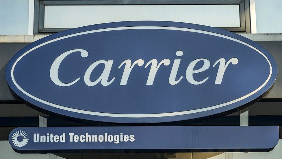 The logo of the heating, air conditioning and ventilation Carrier factory at the entrance in Montluel, eastern France.