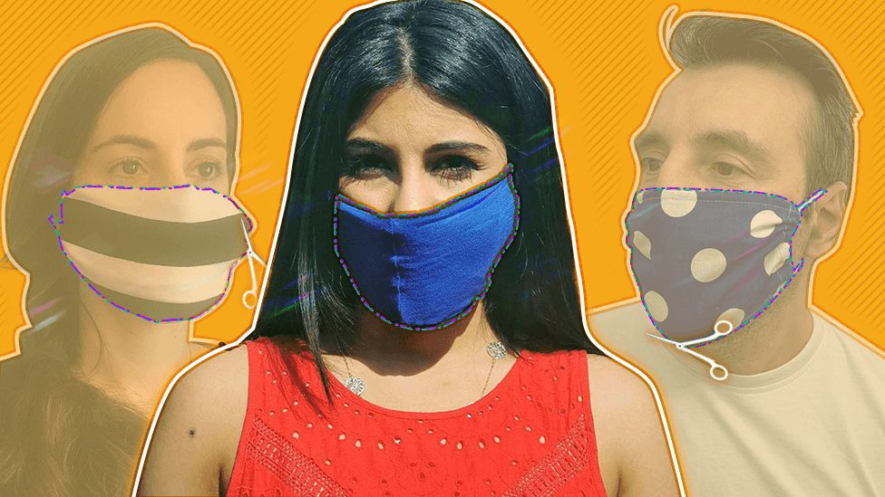 Three types of homemade facemasks or face coverings