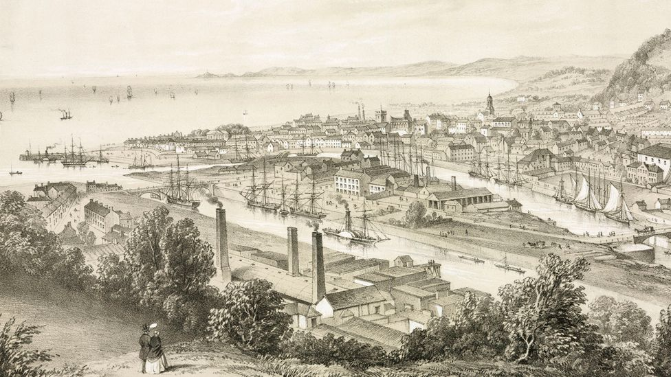 A view of the port of Swansea from the mid 1850s