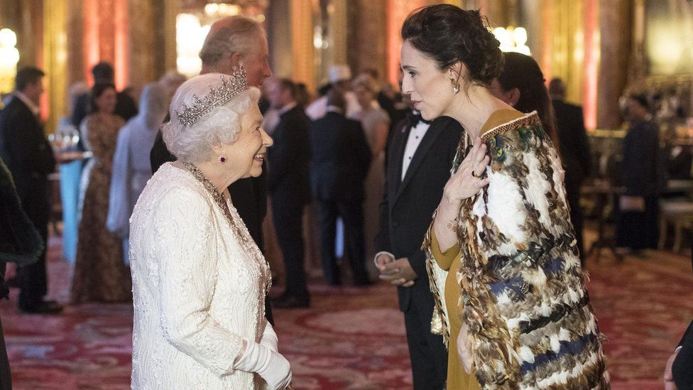 Jacinda Ardern with Queen Elizabeth