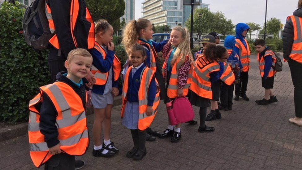 Children gathered for walking bus