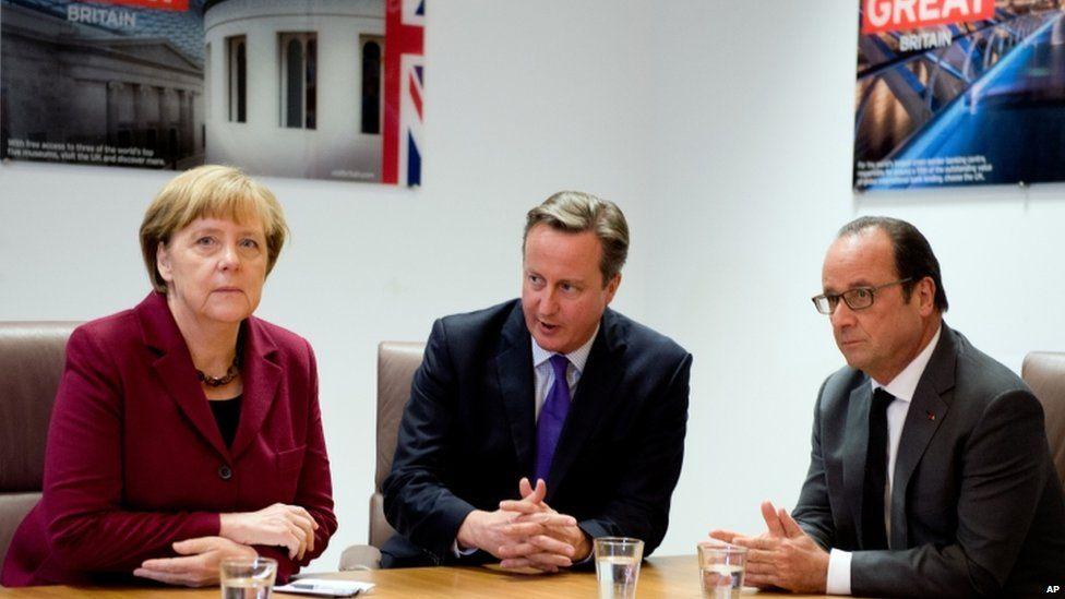 Angela Merkel (left), David Cameron (centre) and Francois Hollande (right)