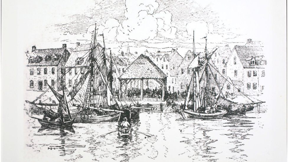 Sketch of the New York Municipal slave market in 1730