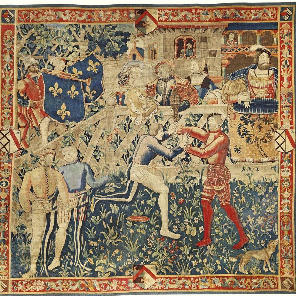 La reunión de los reyes Enrique VIII y el rey Francisco I (Tapiz), c. 1520.