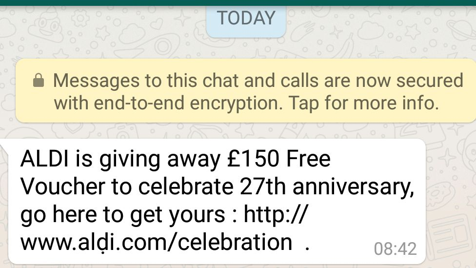 A screenshot from WhatsApp showing the scam which reads ALDI is giving away £150 Free Voucher to celebrate 27th anniversary