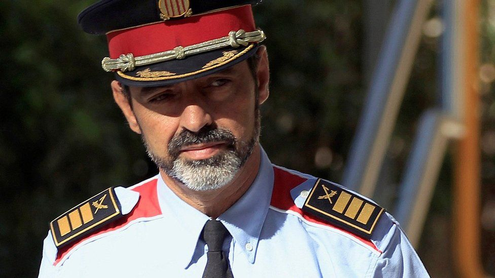 Josep Lluis Trapero - former chief of the Catalan regional police force, the Mossos d'Esquadra - arrives at the National Court in Madrid, Spain, on 6 October 2017