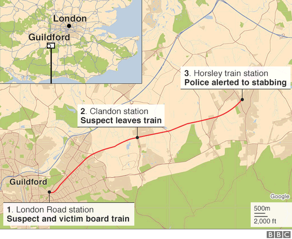 Map of the area where the stabbing happened
