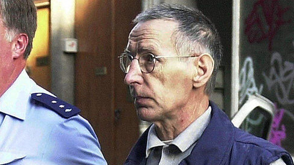 Michel Fourniret arriving at the courthouse in Liege on 26 June 2003