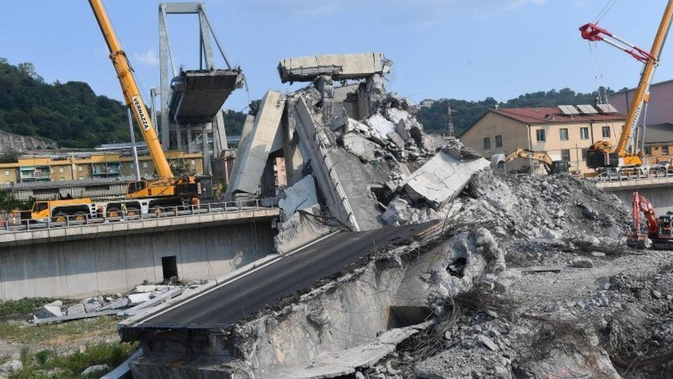 Collapsed Morandi bridge, in Genoa, Italy, 19 August 2018