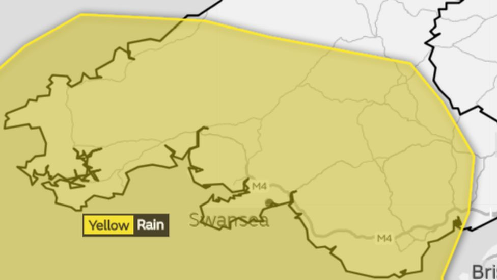 Map showing much of southern Wales could be affected
