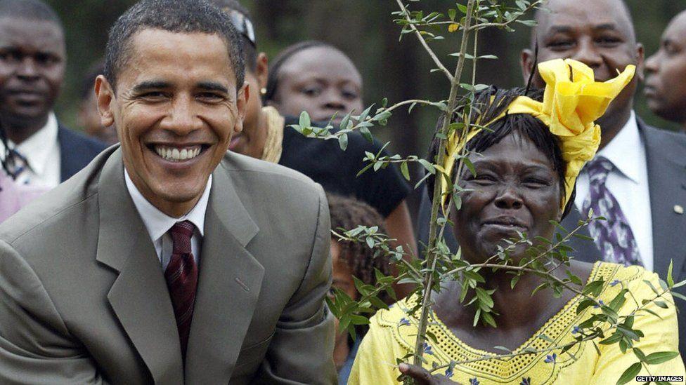 US Senator for Illinois Barack Obama (l) 28 August 2006 with 2005 Nobel Prize Wangari Mathai (r) plants a tree during a ceremony in Nairobi, Kenya